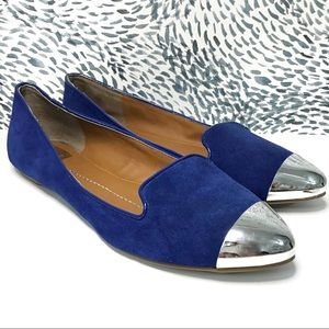 Dolce Vita Blue Silver Pointed Toe Flats Size 7.5